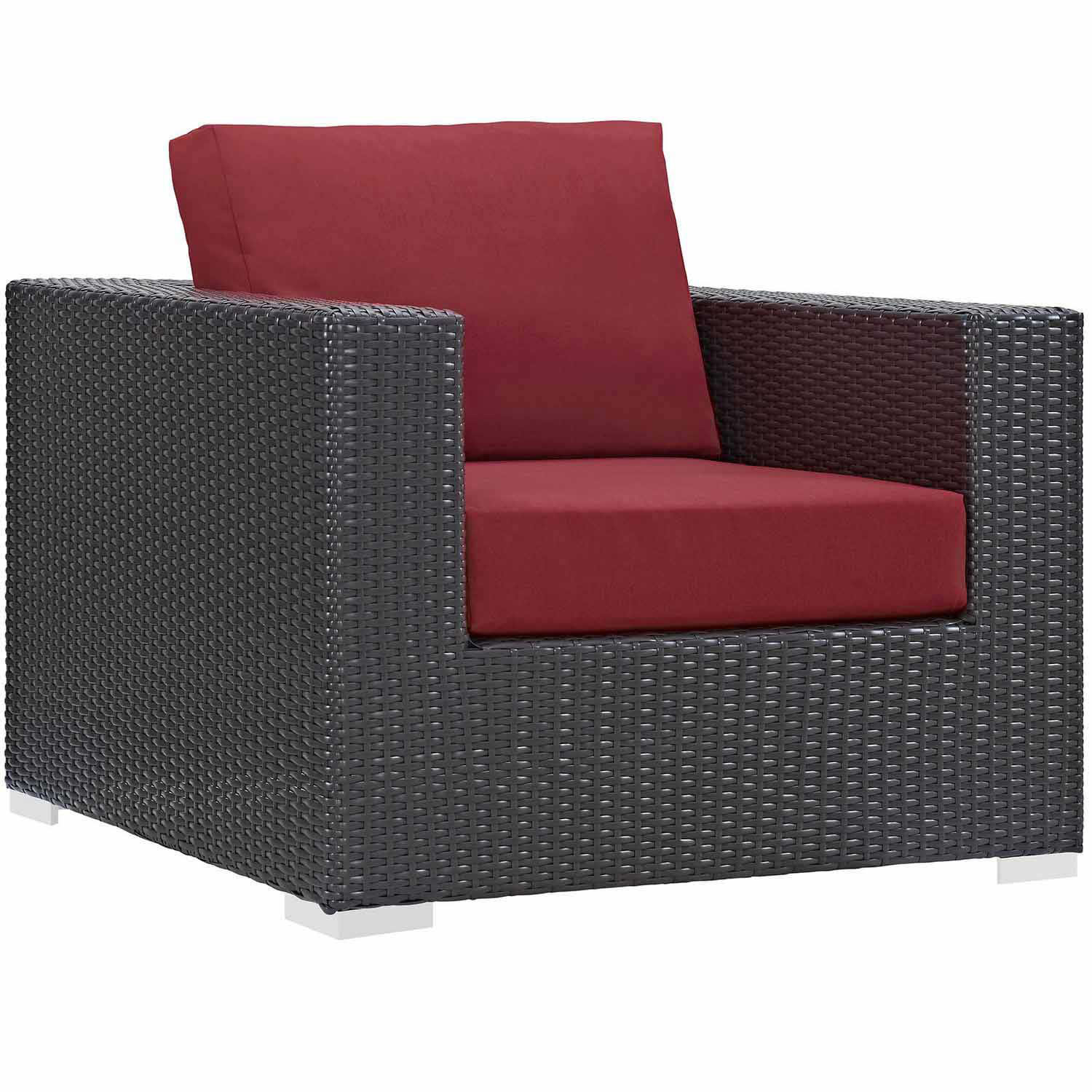 Modway Convene Outdoor Patio Arm Chair - Red