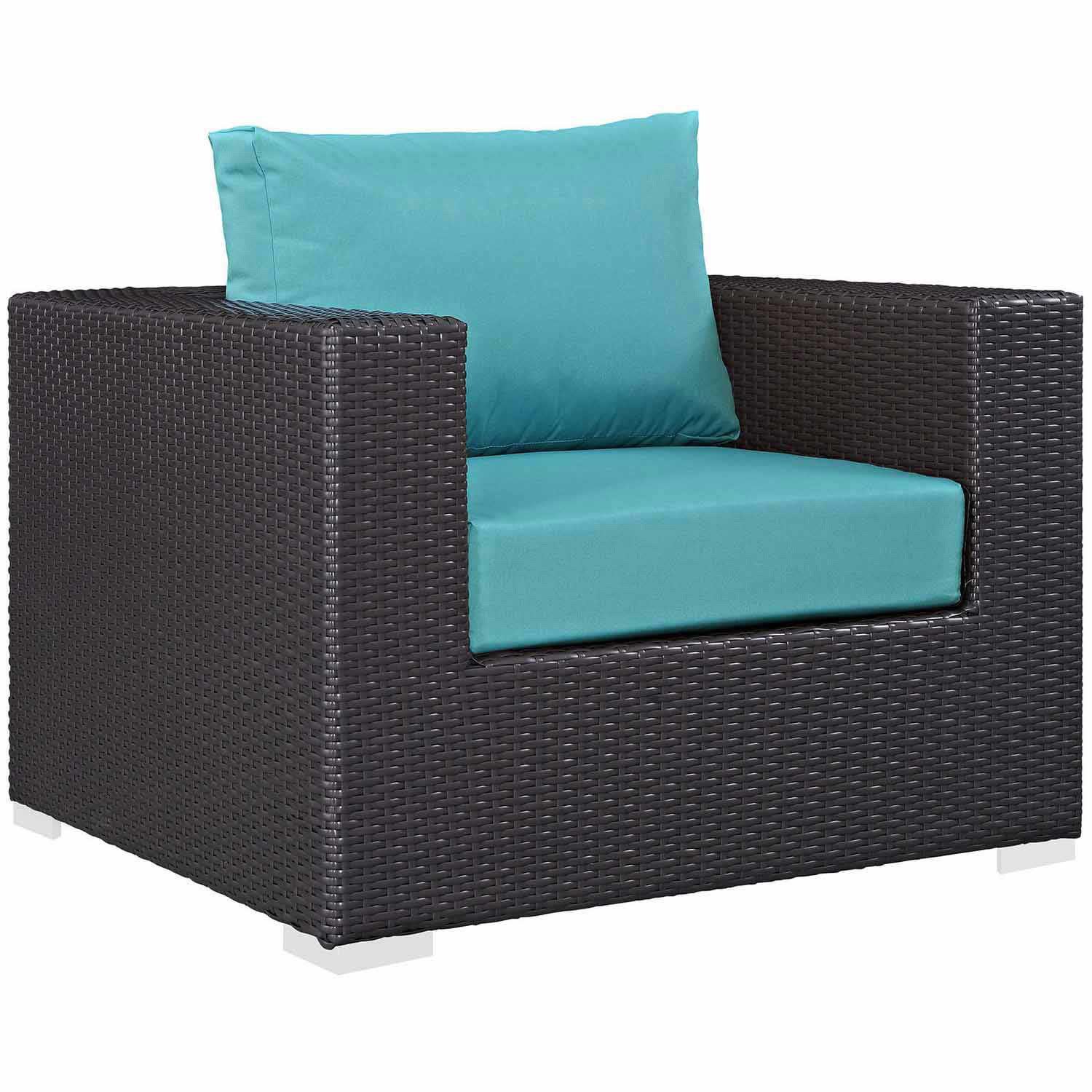 Modway Convene Outdoor Patio Arm Chair - Espresso Turquoise