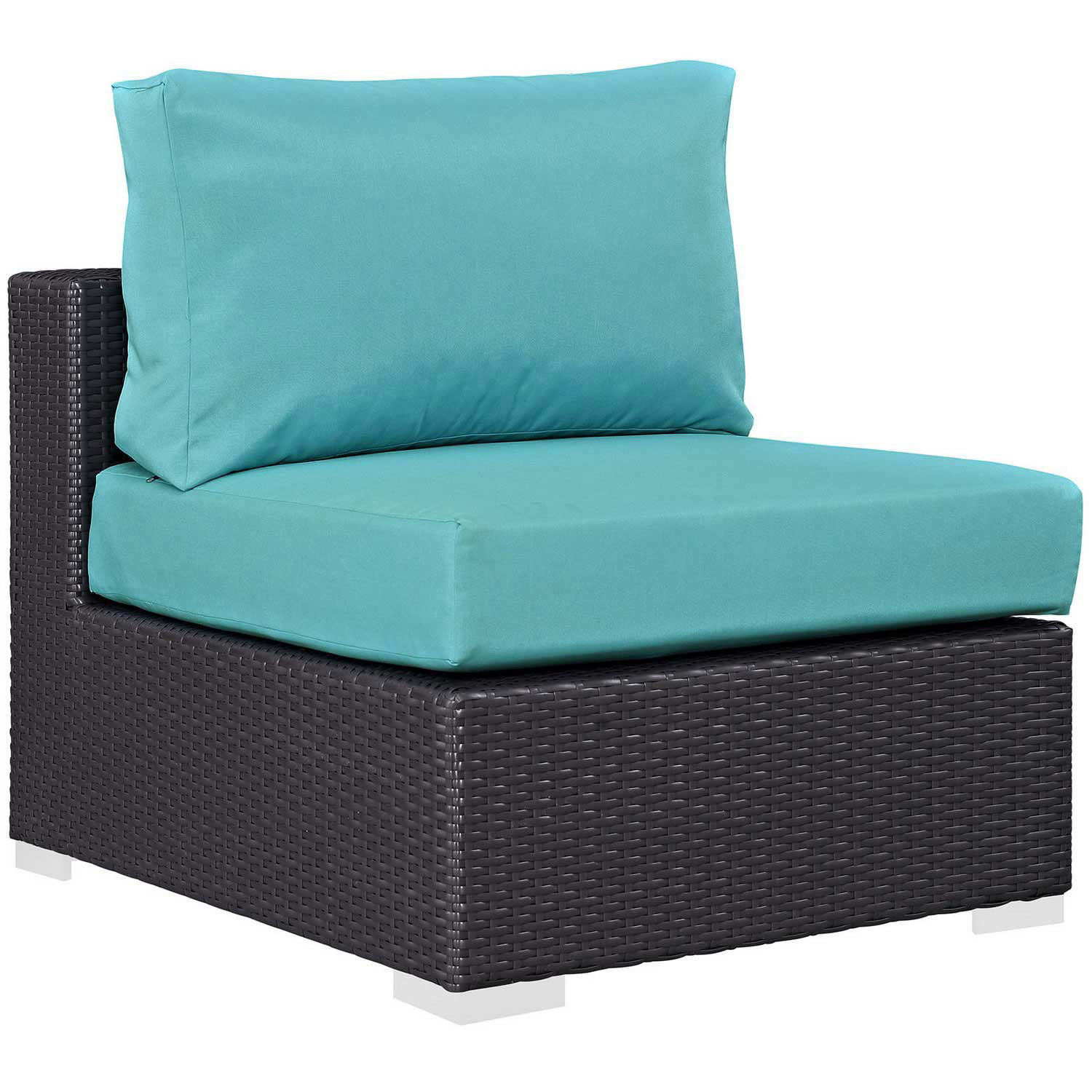 Modway Convene Outdoor Patio Armless - Espresso Turquoise
