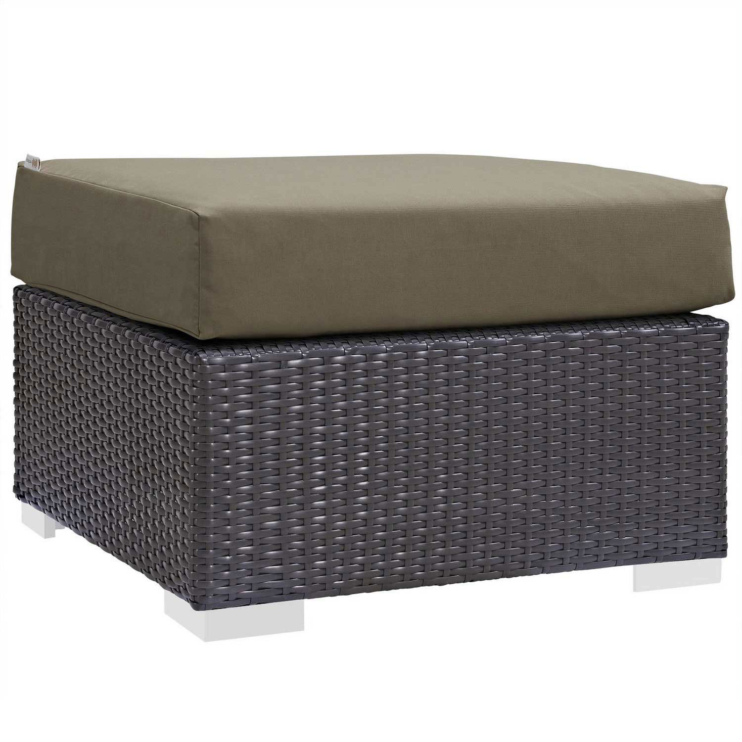 Modway Convene Outdoor Patio Fabric Square Ottoman - Espresso Mocha