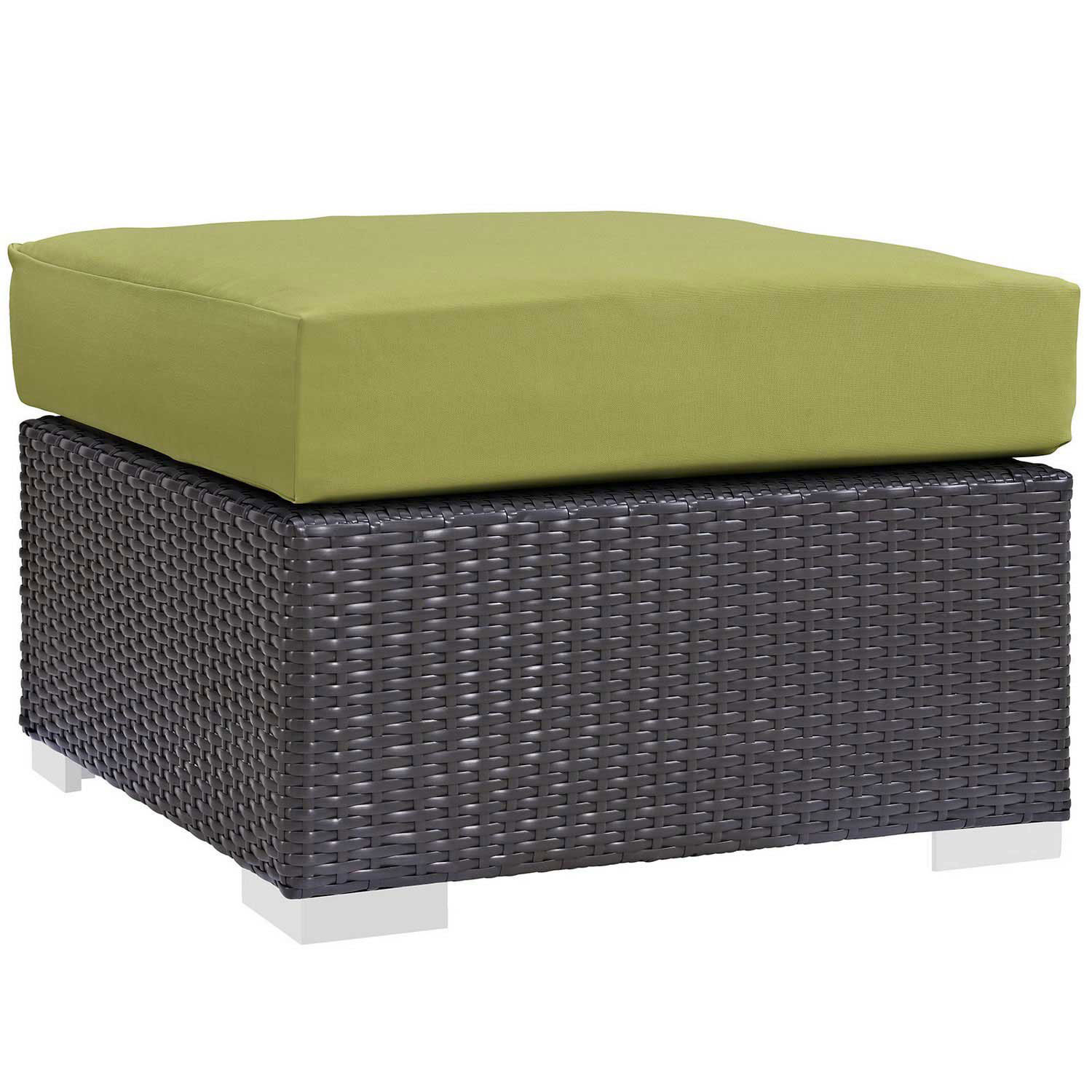 Modway Convene Outdoor Patio Fabric Square Ottoman - Espresso Peridot