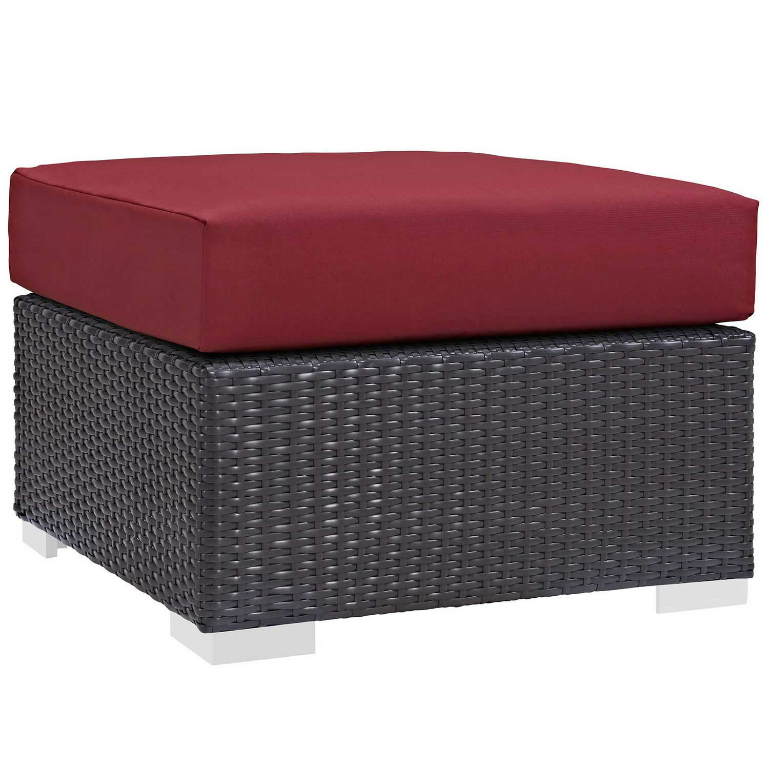 Modway Convene Outdoor Patio Fabric Square Ottoman - Espresso Red Espresso Red