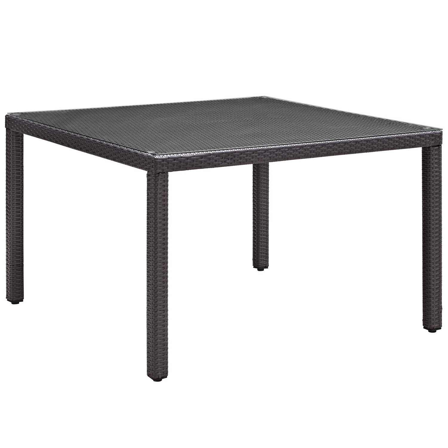 Modway Convene 47-inch Square Outdoor Patio Glass Top Dining Table - Espresso