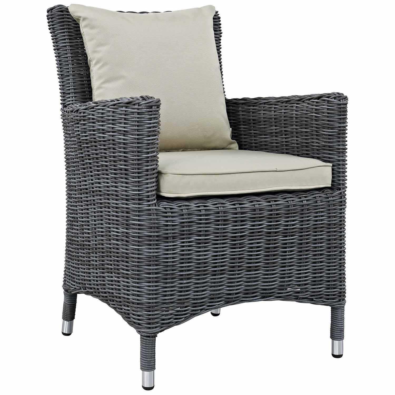 Modway Summon Dining Outdoor Patio Sunbrella Arm Chair - Antique Canvas Beige
