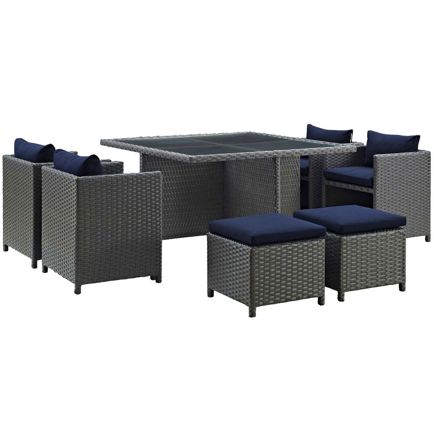 Modway Sojourn 9 Piece Outdoor Patio Glass Top Sunbrella Dining Set - Canvas Navy