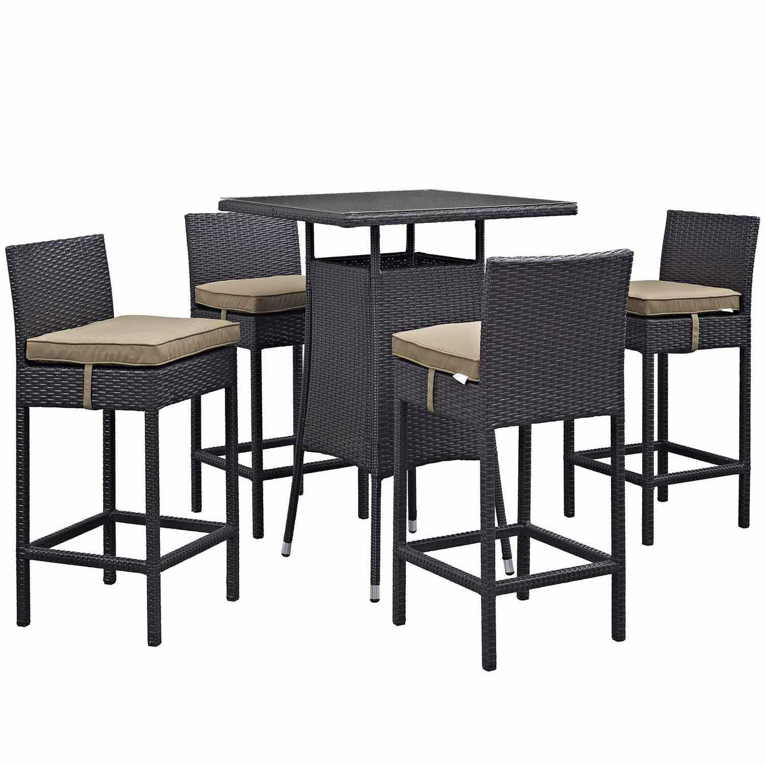 Modway Convene 5 Piece Outdoor Patio Pub Set - Espresso Mocha