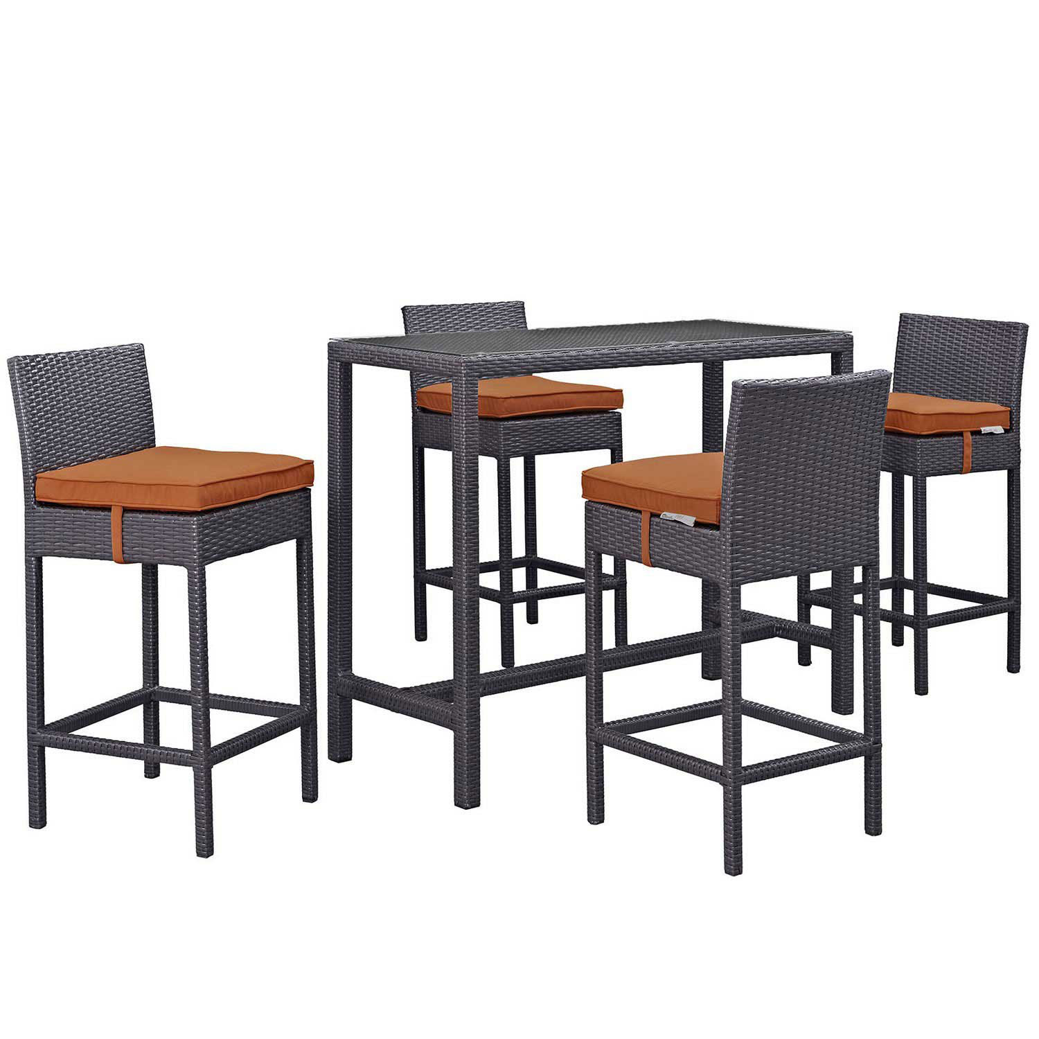 Modway Convene 5 Piece Outdoor Patio Pub Set - Espresso Orange