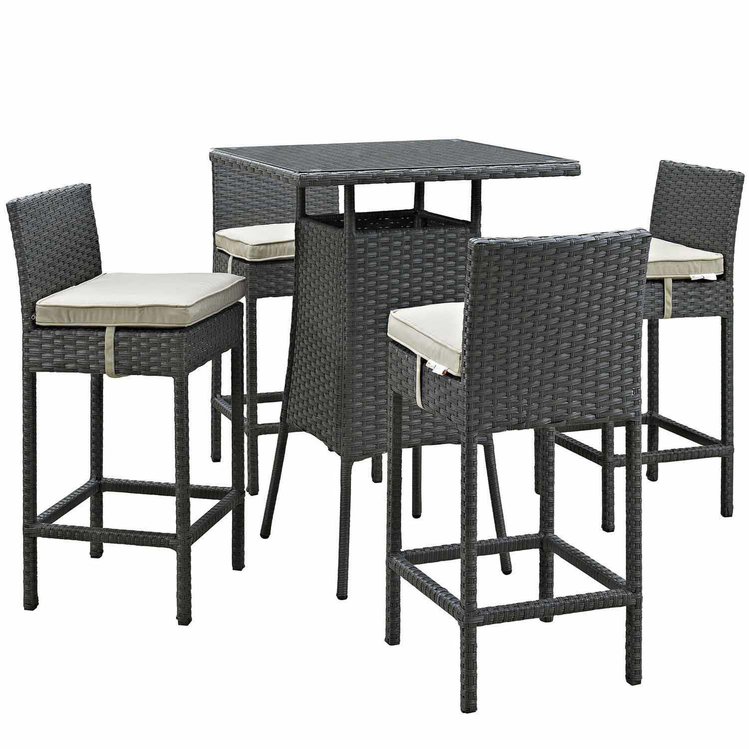 Modway Sojourn 5 Piece Outdoor Patio Sunbrella Pub Set - Antique Canvas Beige