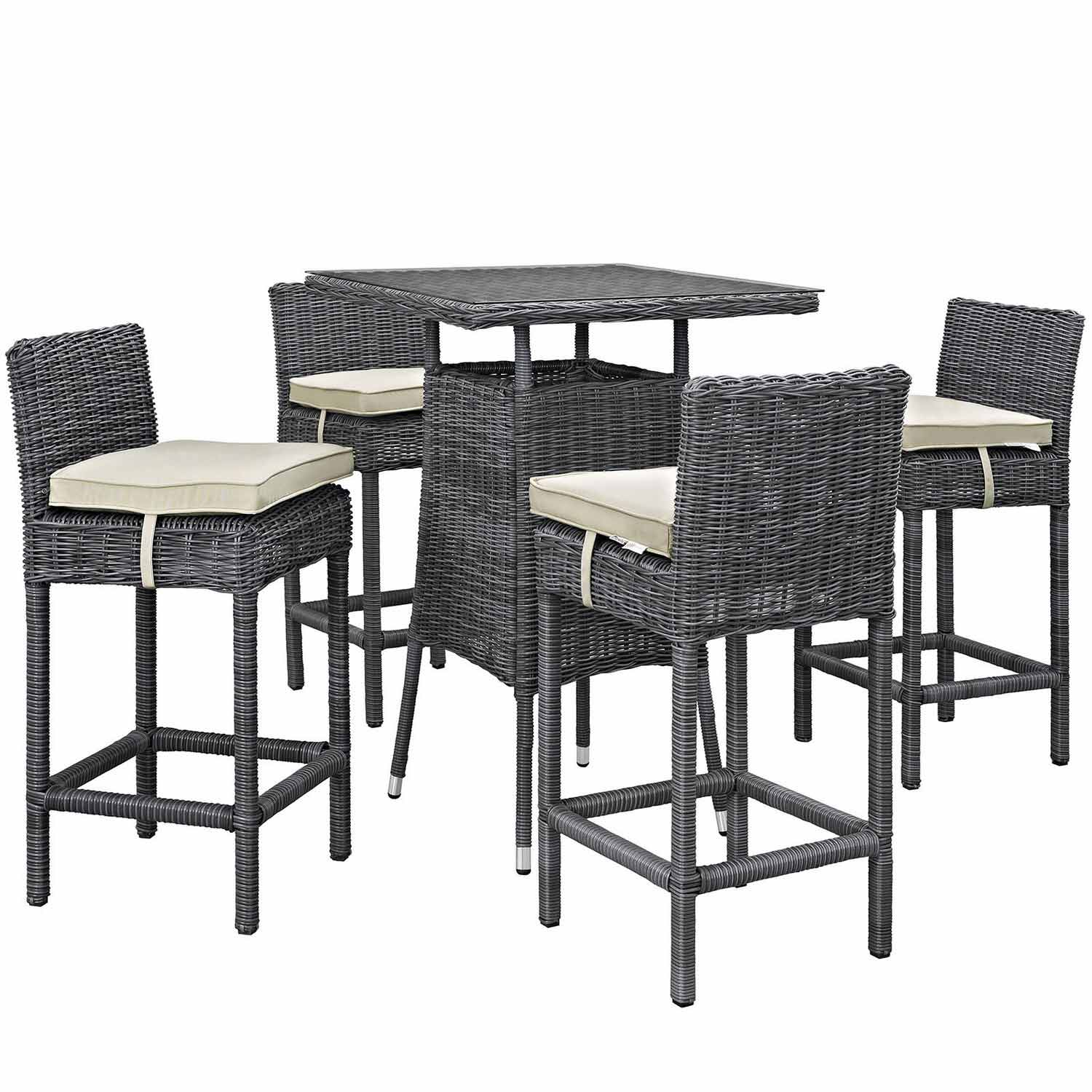 Modway Summon 5 Piece Outdoor Patio Sunbrella Pub Set - Antique Canvas Beige