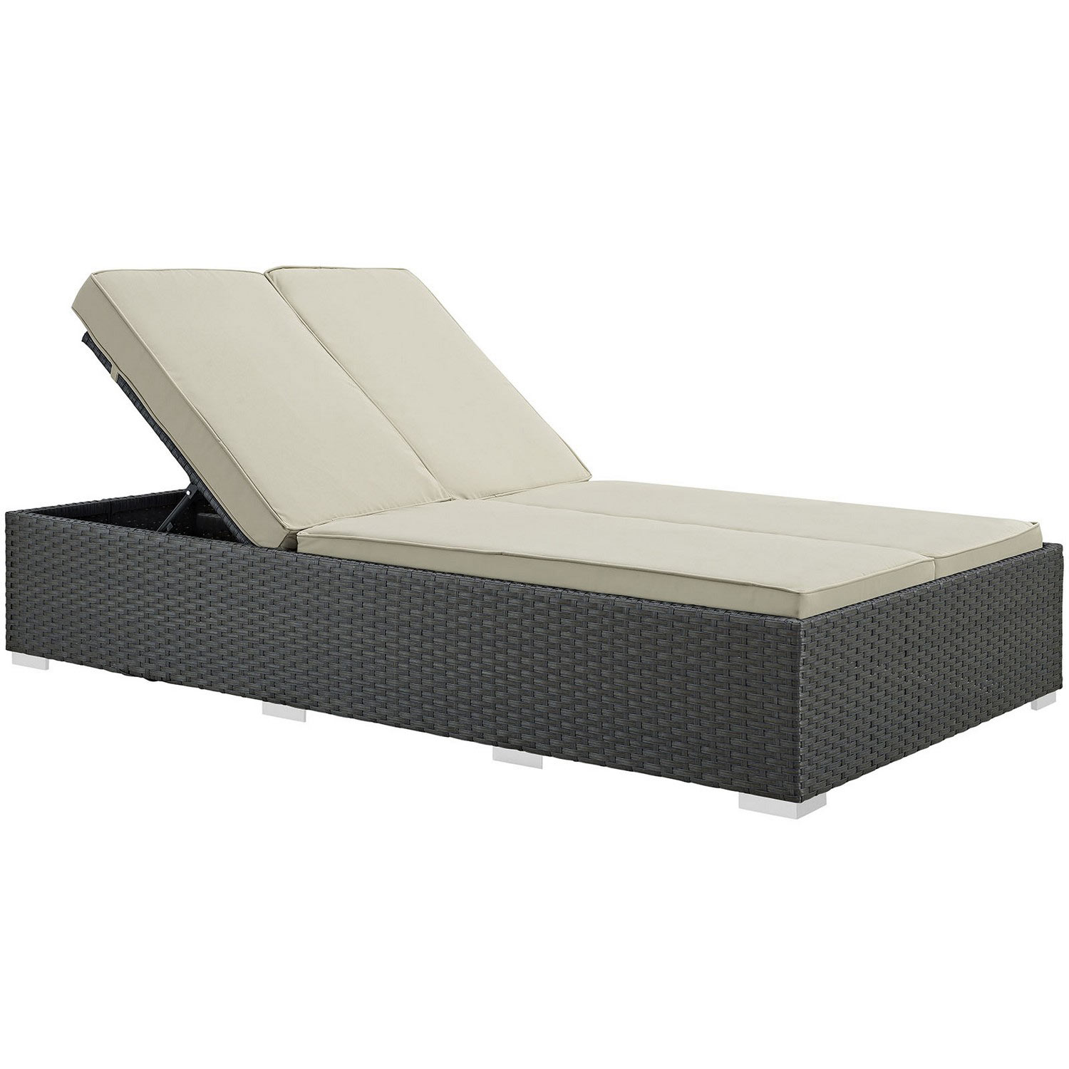 Modway Sojourn Outdoor Patio Sunbrella Double Chaise - Chocolate Beige