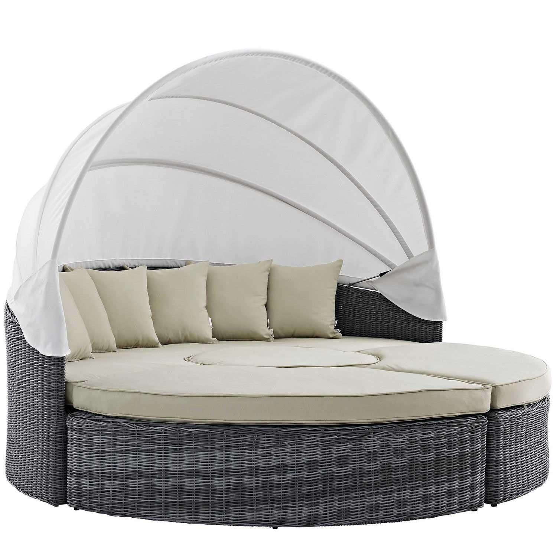 Modway Summon Canopy Outdoor Patio Sunbrella Daybed - Antique Canvas Beige