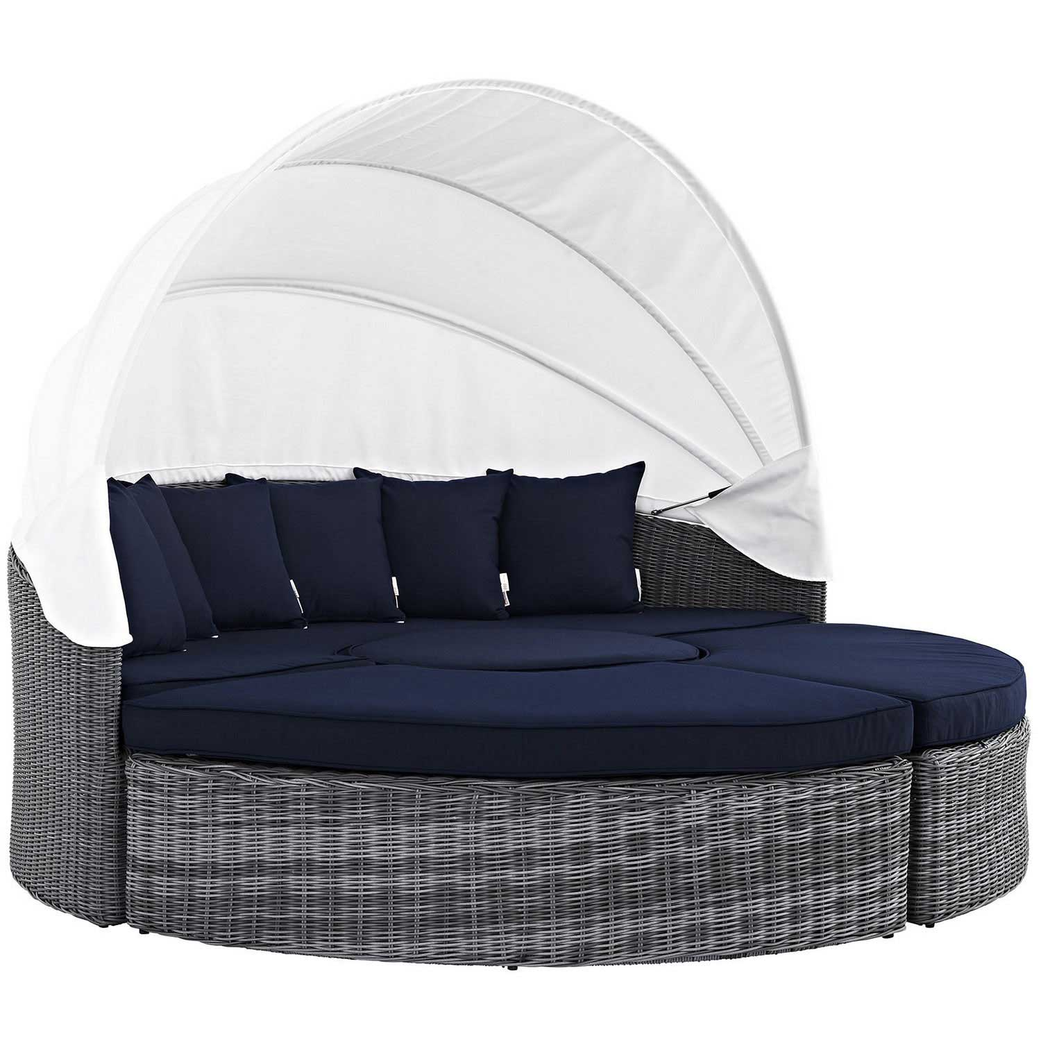 Modway Summon Canopy Outdoor Patio Sunbrella Daybed - Canvas Navy