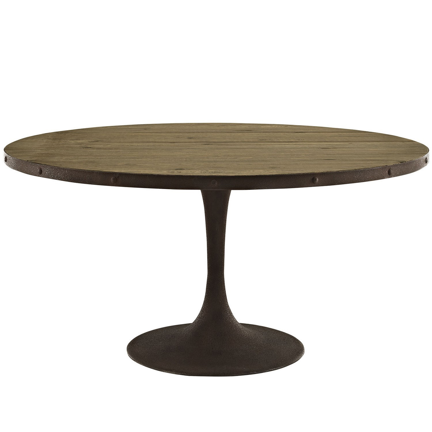 Modway drive 60 inch round wood top dining table brown mw eei 2005 brn set at - Inch round wood table top ...