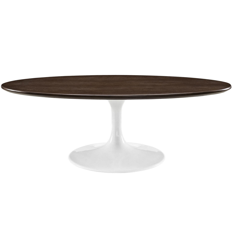 Modway Lippa 48-inch Oval-Shaped Walnut Coffee Table - Walnut