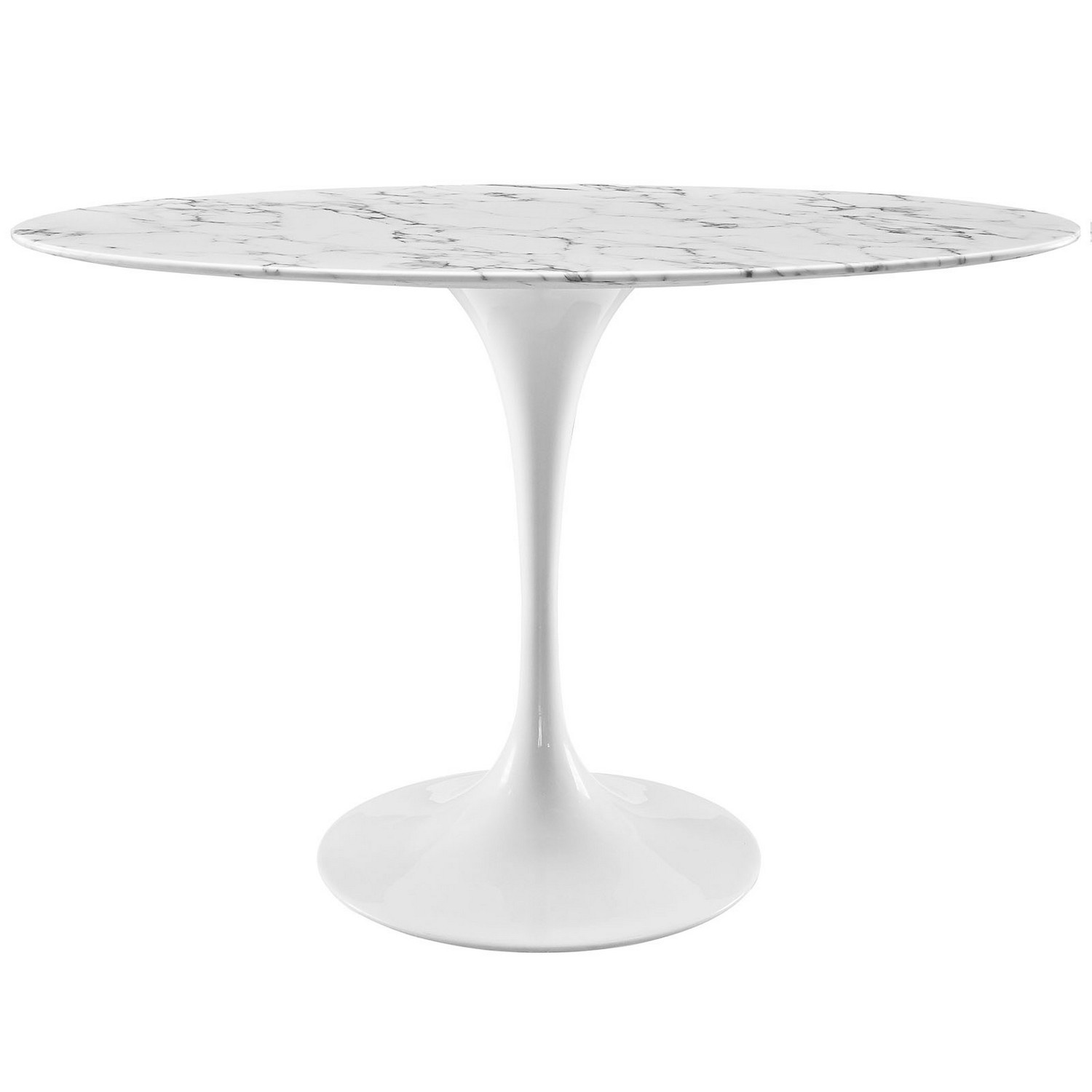 Modway Lippa 48-inch Oval-Shaped Artificial Marble Dining Table - White