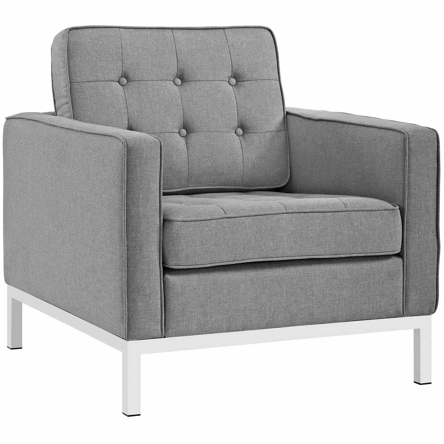 Modway Loft Fabric Arm Chair - Light Gray