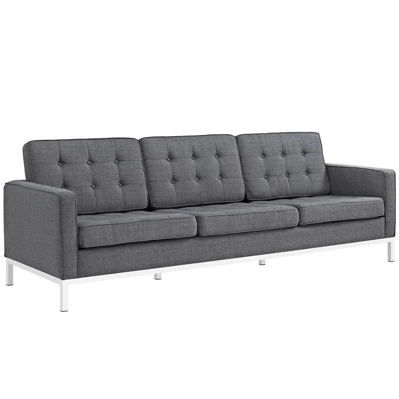 Modway Loft Fabric Sofa Set - Gray