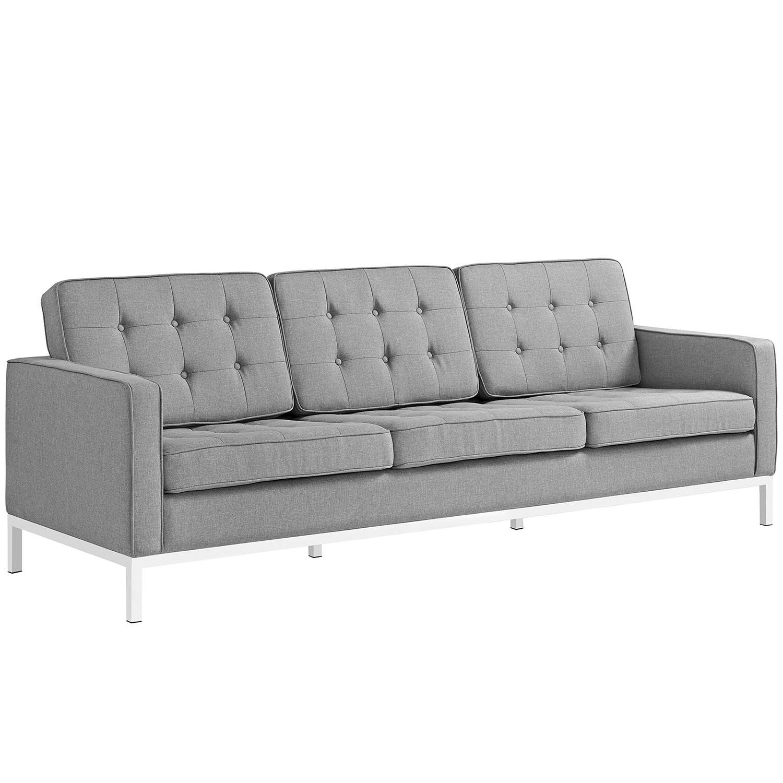 Modway Loft Fabric Sofa Set - Light Gray