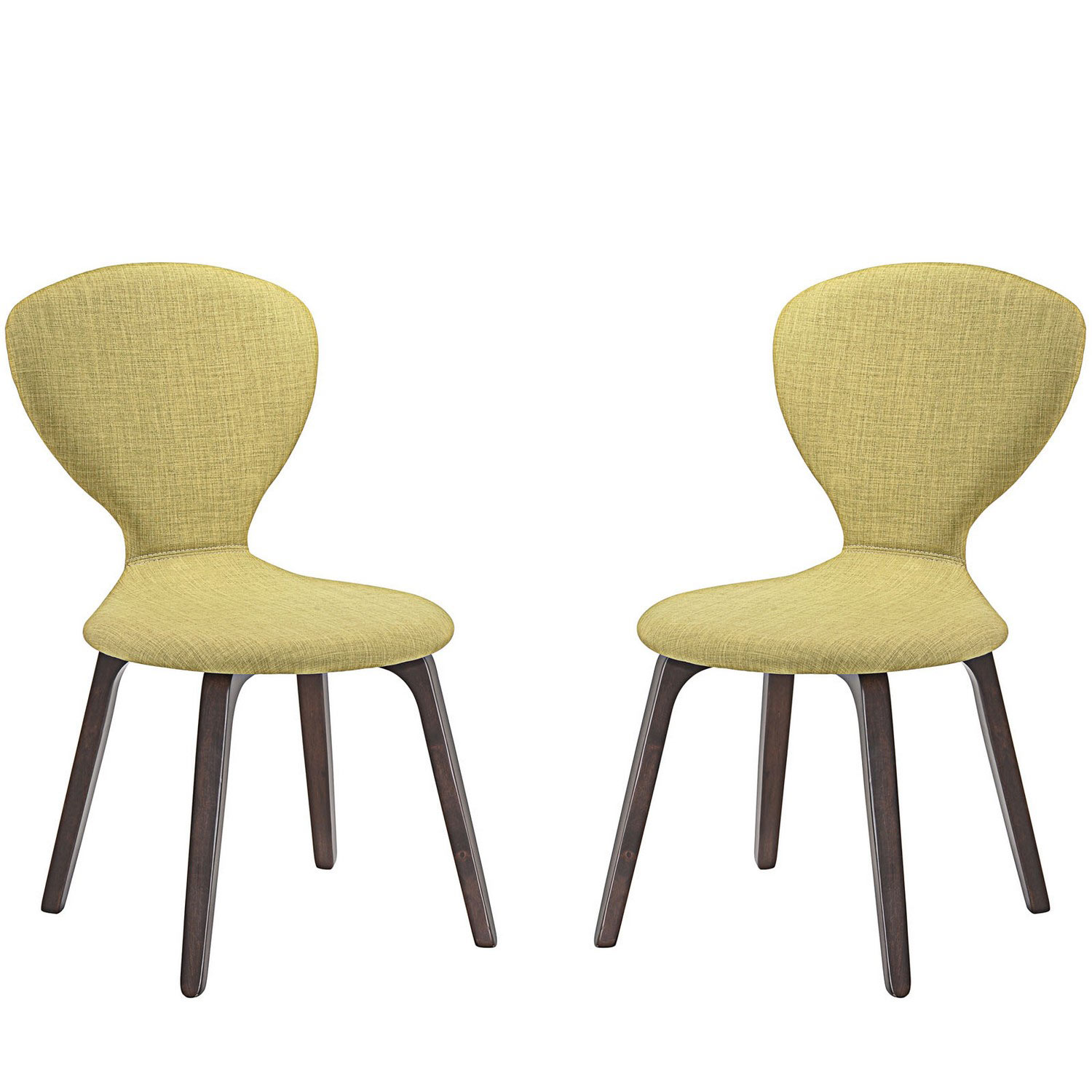 Modway Tempest Dining Side Chair Set of 2 - Walnut Green