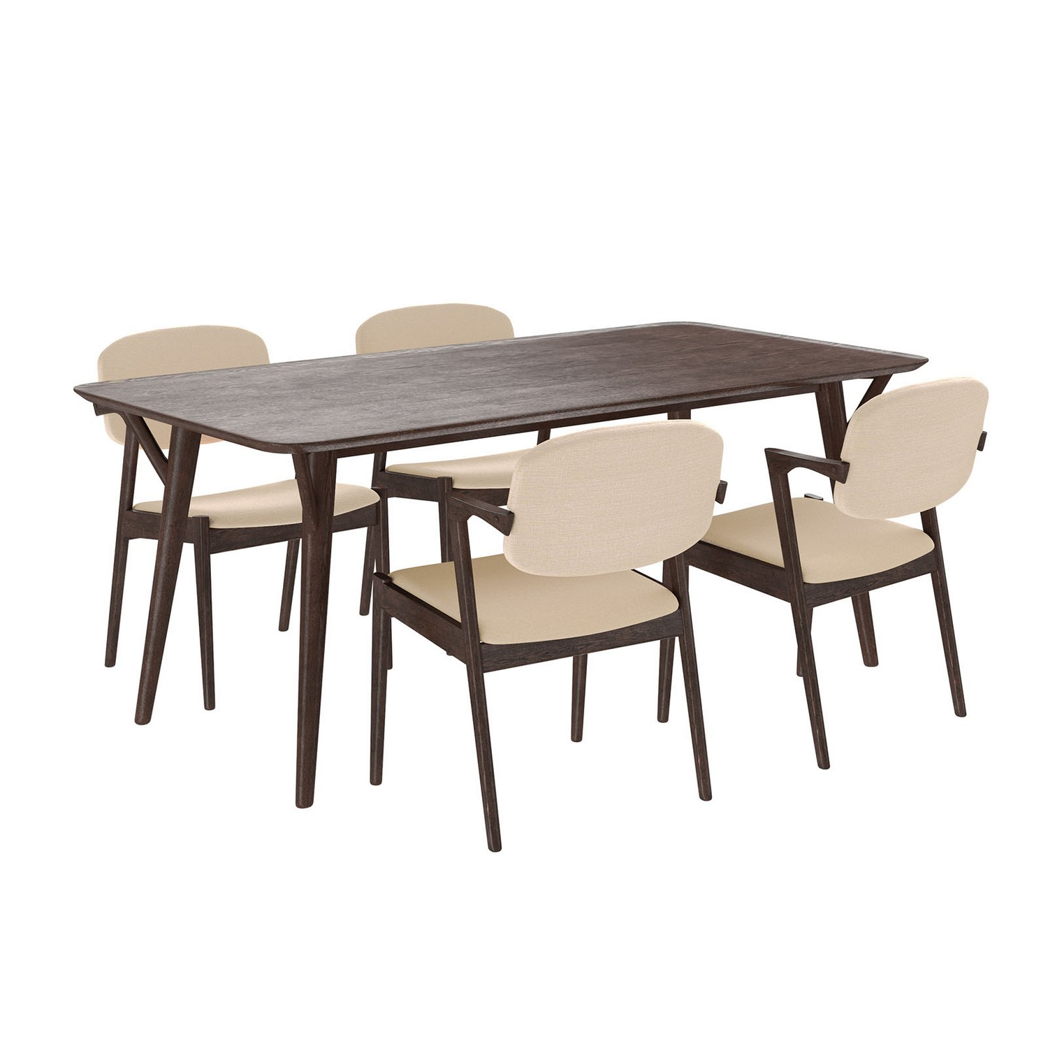 Modway Mid-Century Dining Set Wood Set of 5 - Walnut Beige