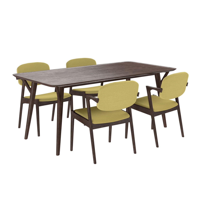 Modway Mid-Century Dining Set Wood Set of 5 - Walnut Green