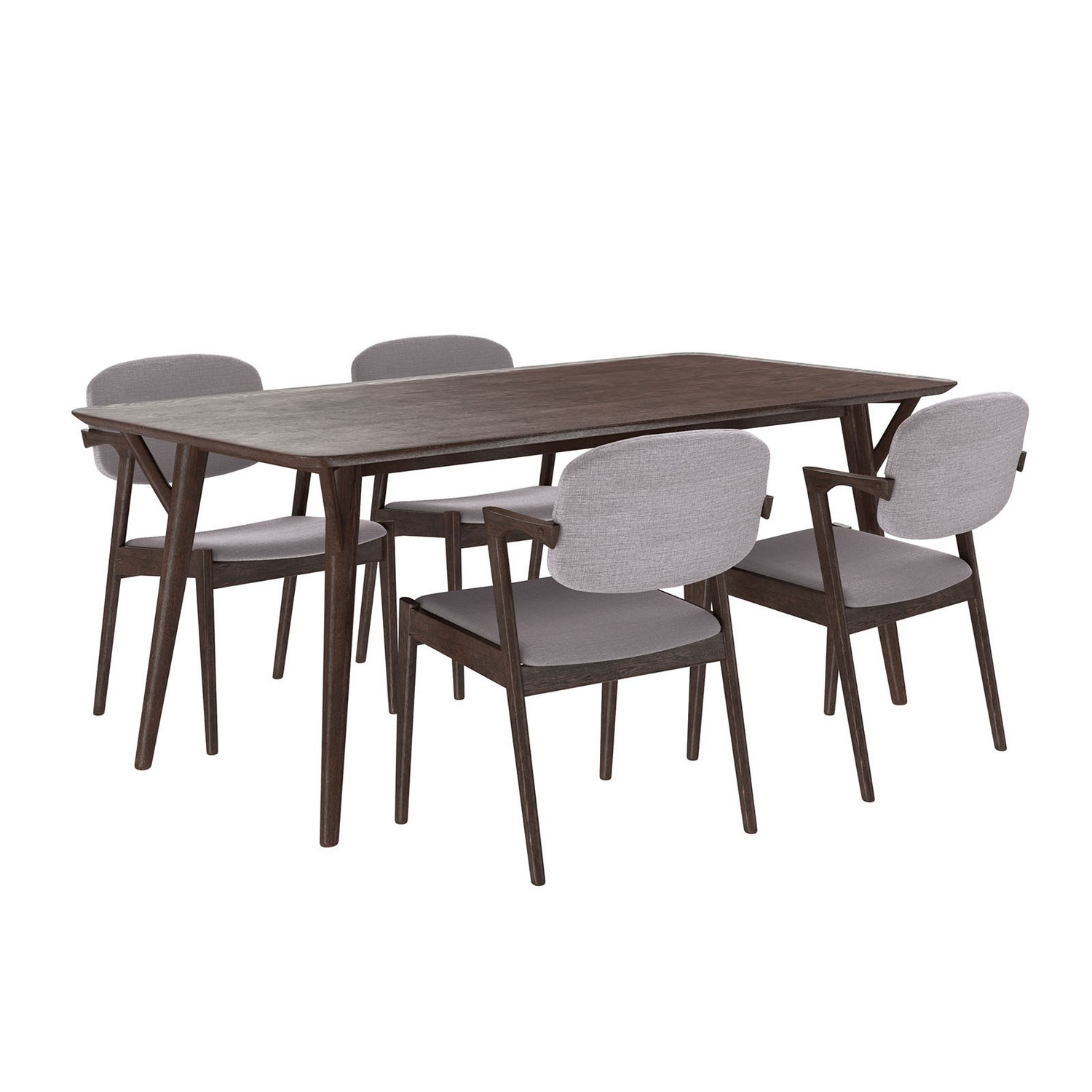 Modway Mid-Century Dining Set Wood Set of 5 - Walnut Gray