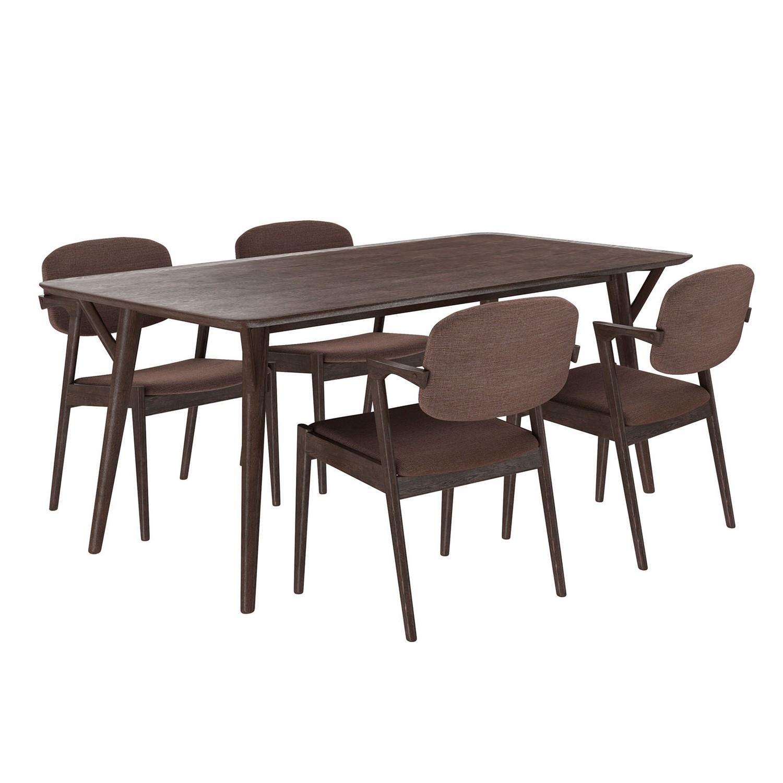 Modway Mid-Century Dining Set Wood Set of 5 - Walnut Mocha
