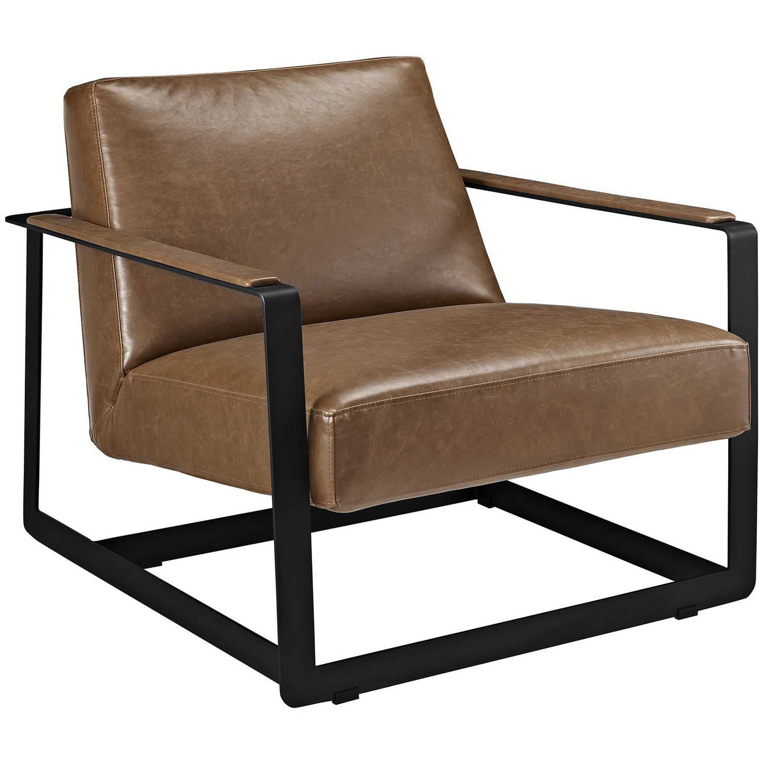 Modway Seg Bonded Leather Accent Chair - Brown
