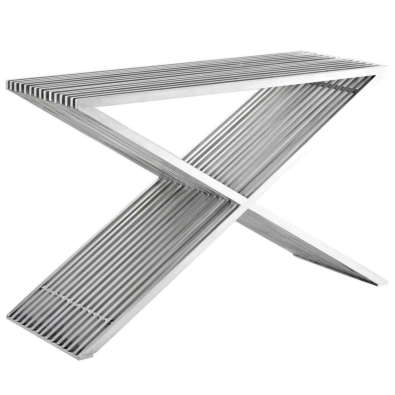 Modway Press Console Table - Silver