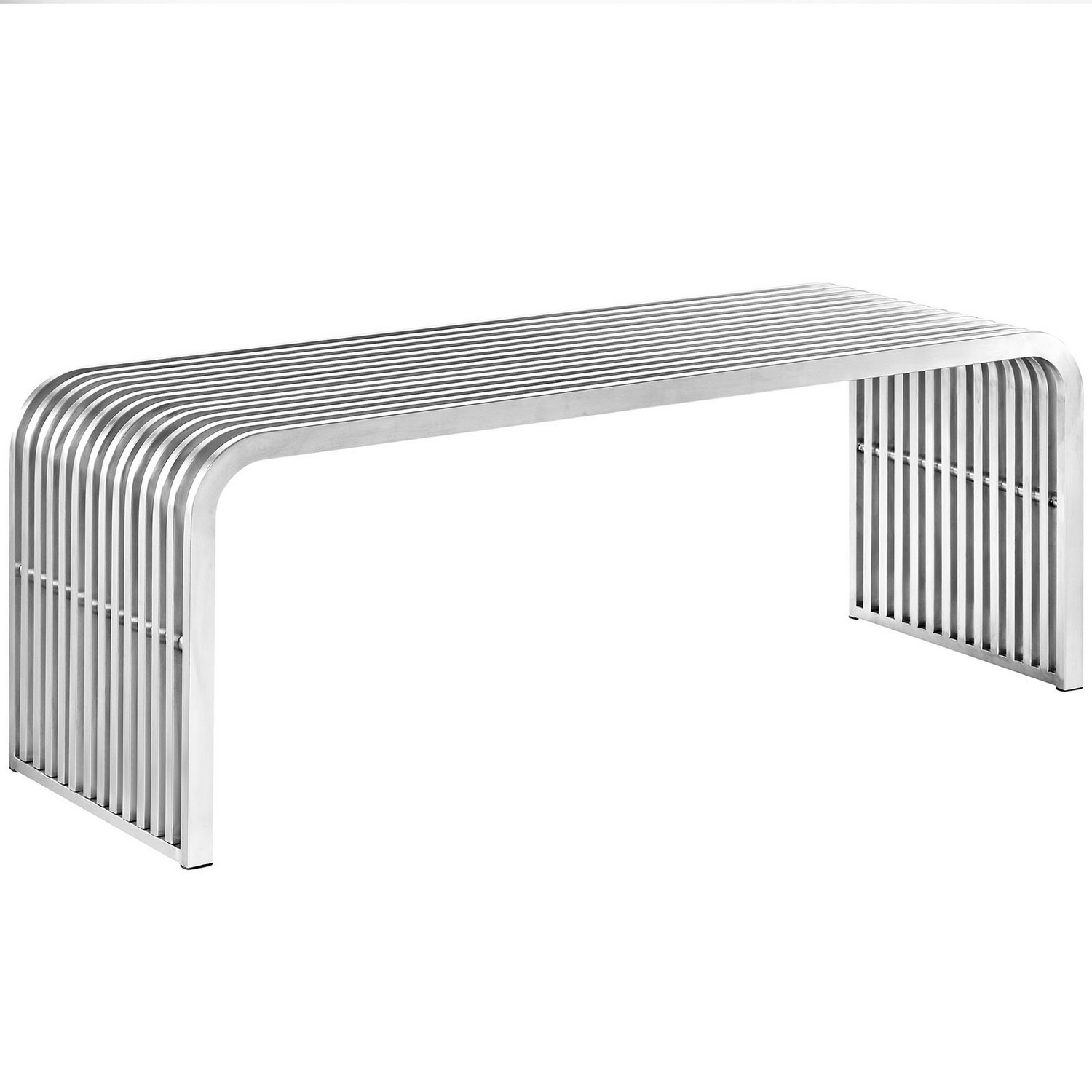 Modway Pipe Stainless Steel Bench - Silver