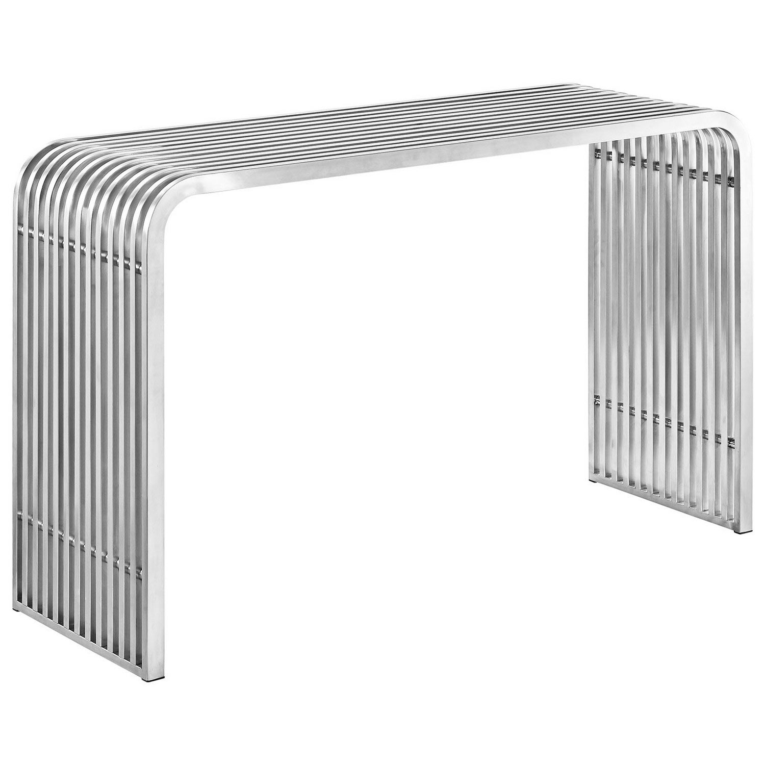 Modway Pipe Stainless Steel Console Table - Silver