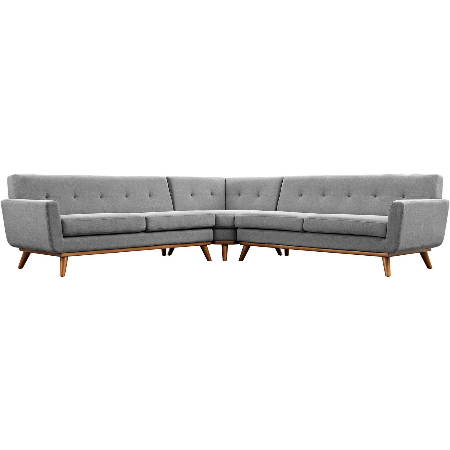 Modway Engage L-Shaped Sectional Sofa - Expectation Gray
