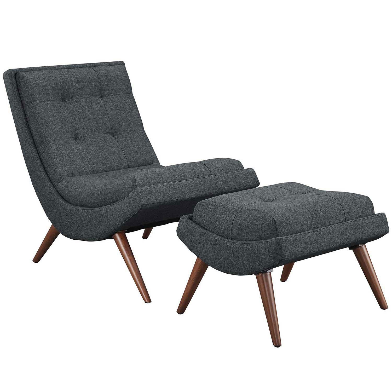 Modway Ramp Fabric Lounge Chair Set - Gray
