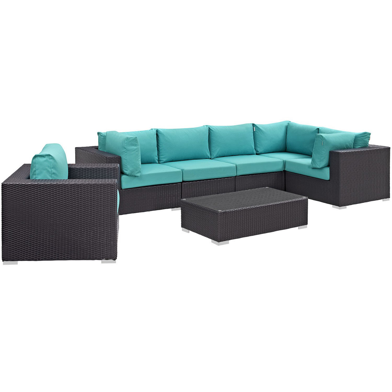 Modway Convene 7 Piece Outdoor Patio Sectional Set - Espresso Turquoise