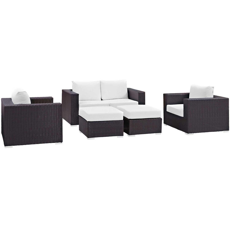 Modway Convene 5 Piece Outdoor Patio Sofa Set - Espresso White