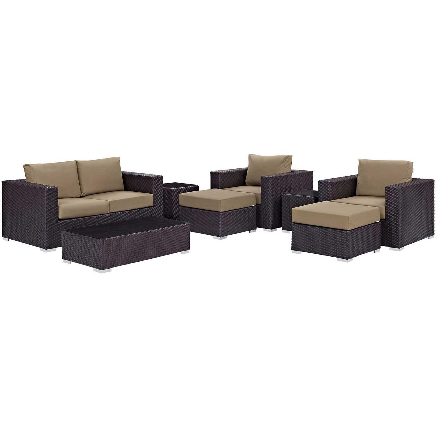 Modway Convene 8 Piece Outdoor Patio Sofa Set - Espresso Mocha
