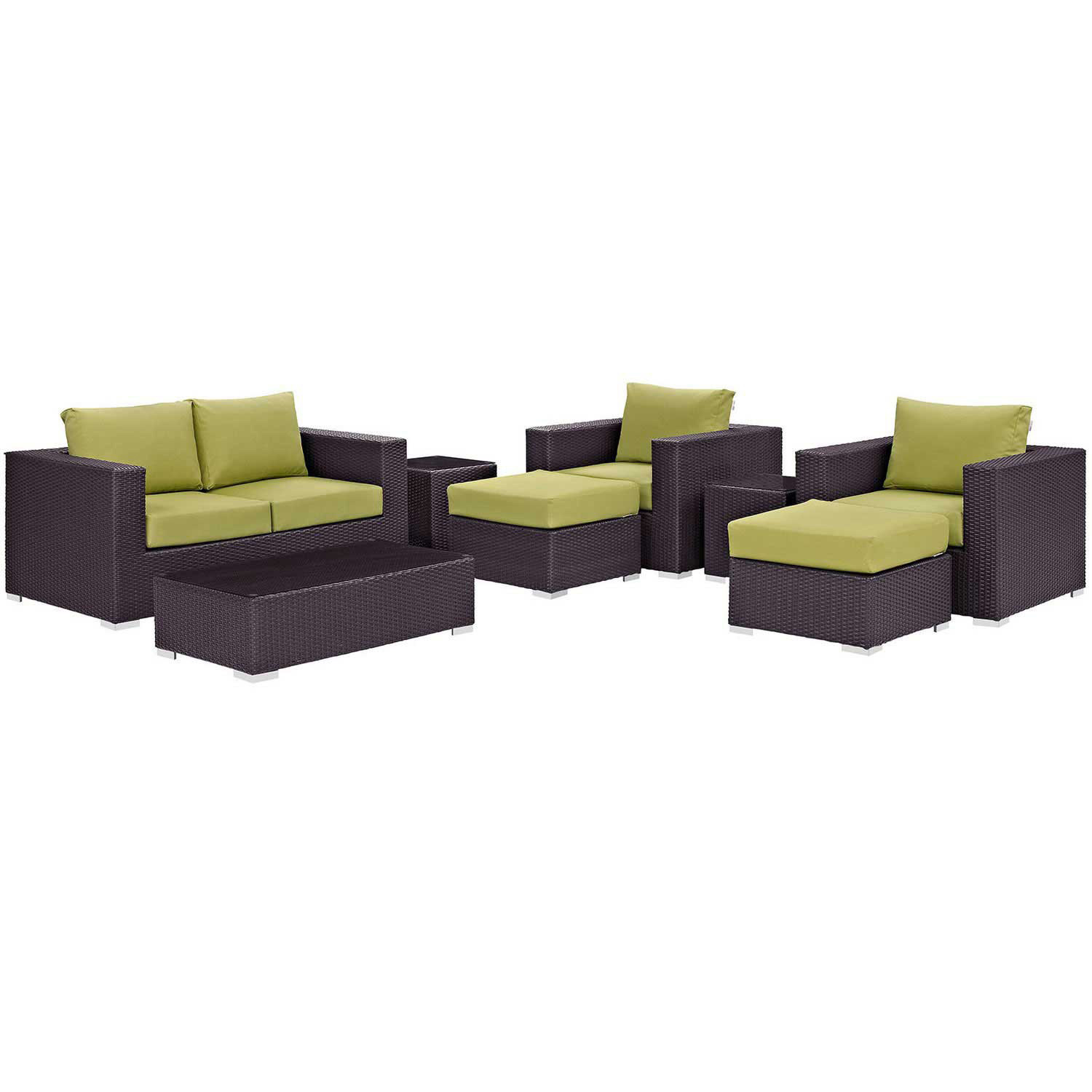 Modway Convene 8 Piece Outdoor Patio Sofa Set - Espresso Peridot