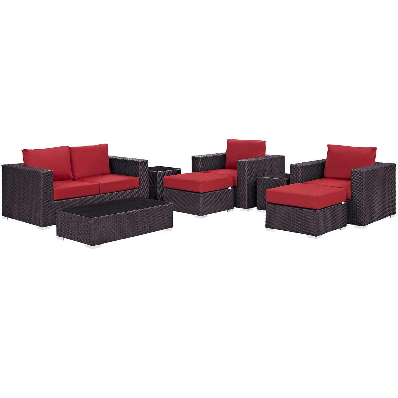 Modway Convene 8 Piece Outdoor Patio Sofa Set - Espresso Red