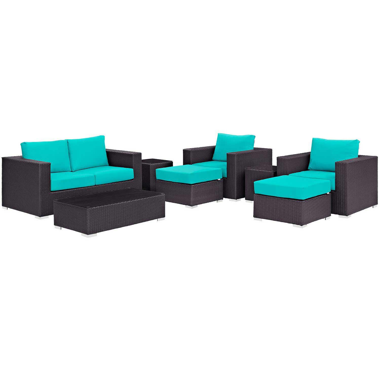 Modway Convene 8 Piece Outdoor Patio Sofa Set - Espresso Turquoise