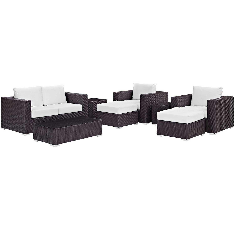 Modway Convene 8 Piece Outdoor Patio Sofa Set - Espresso White
