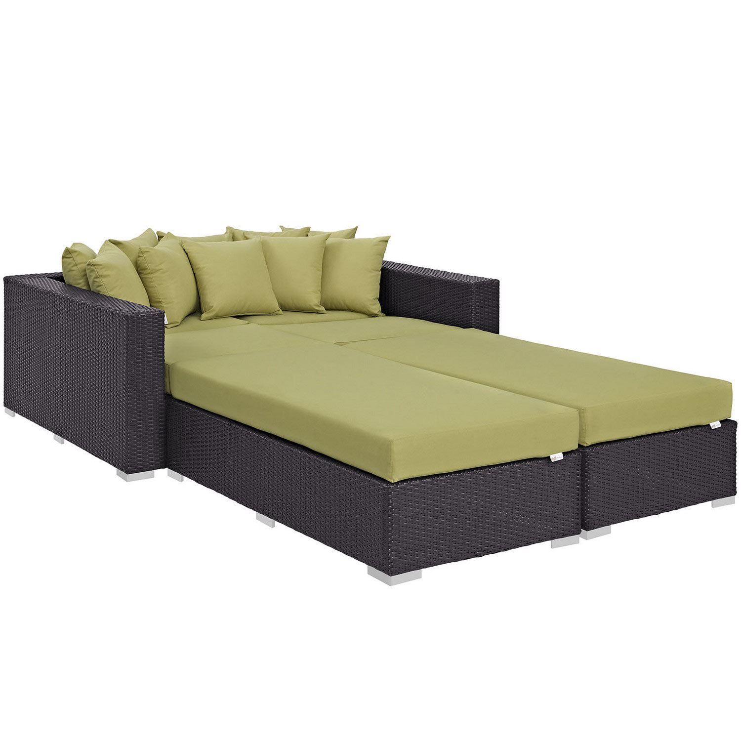 Modway Convene 4 Piece Outdoor Patio Daybed - Espresso Peridot