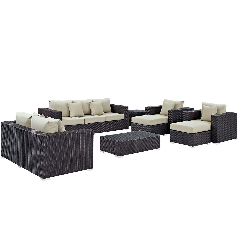 Modway Convene 9 Piece Outdoor Patio Sofa Set - Espresso Beige