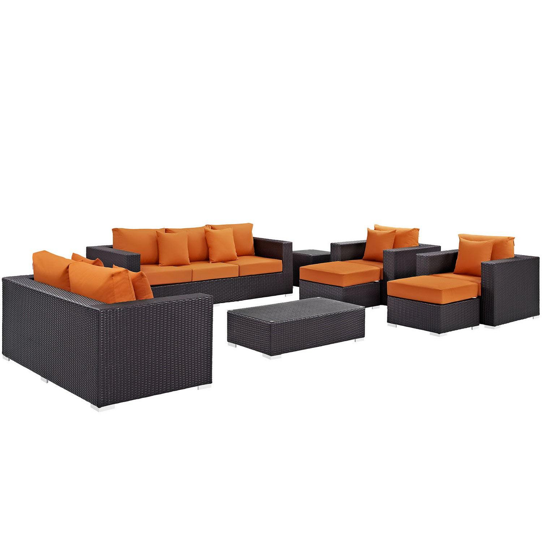 Modway Convene 9 Piece Outdoor Patio Sofa Set - Espresso Orange