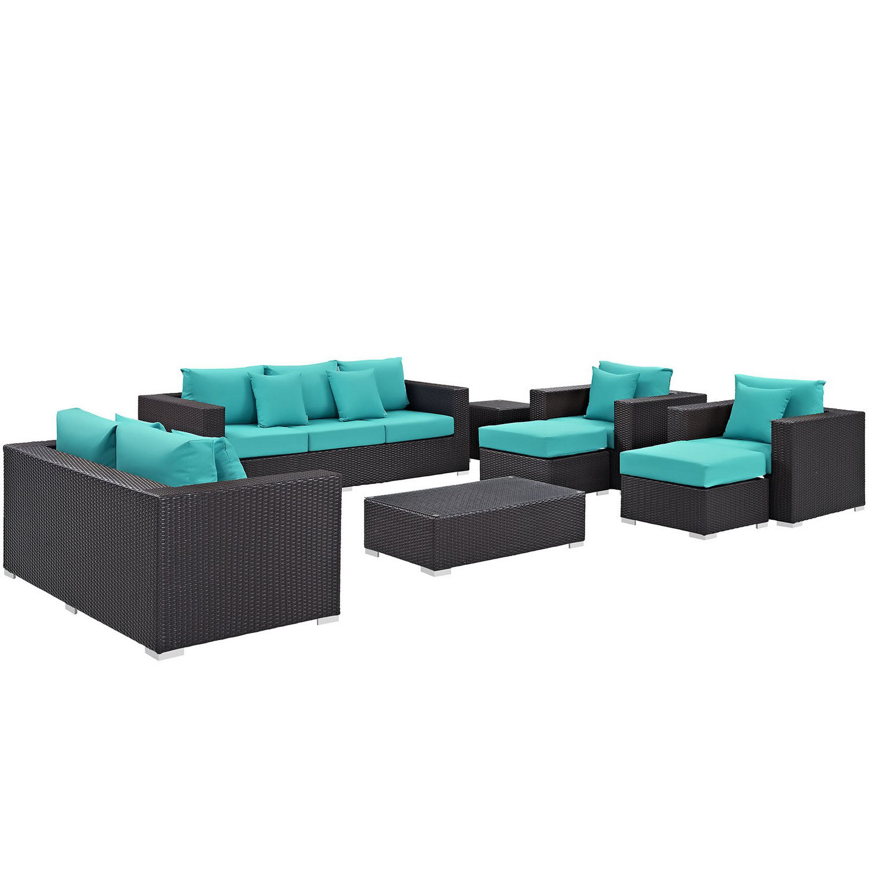 Modway Convene 9 Piece Outdoor Patio Sofa Set - Espresso Turquoise
