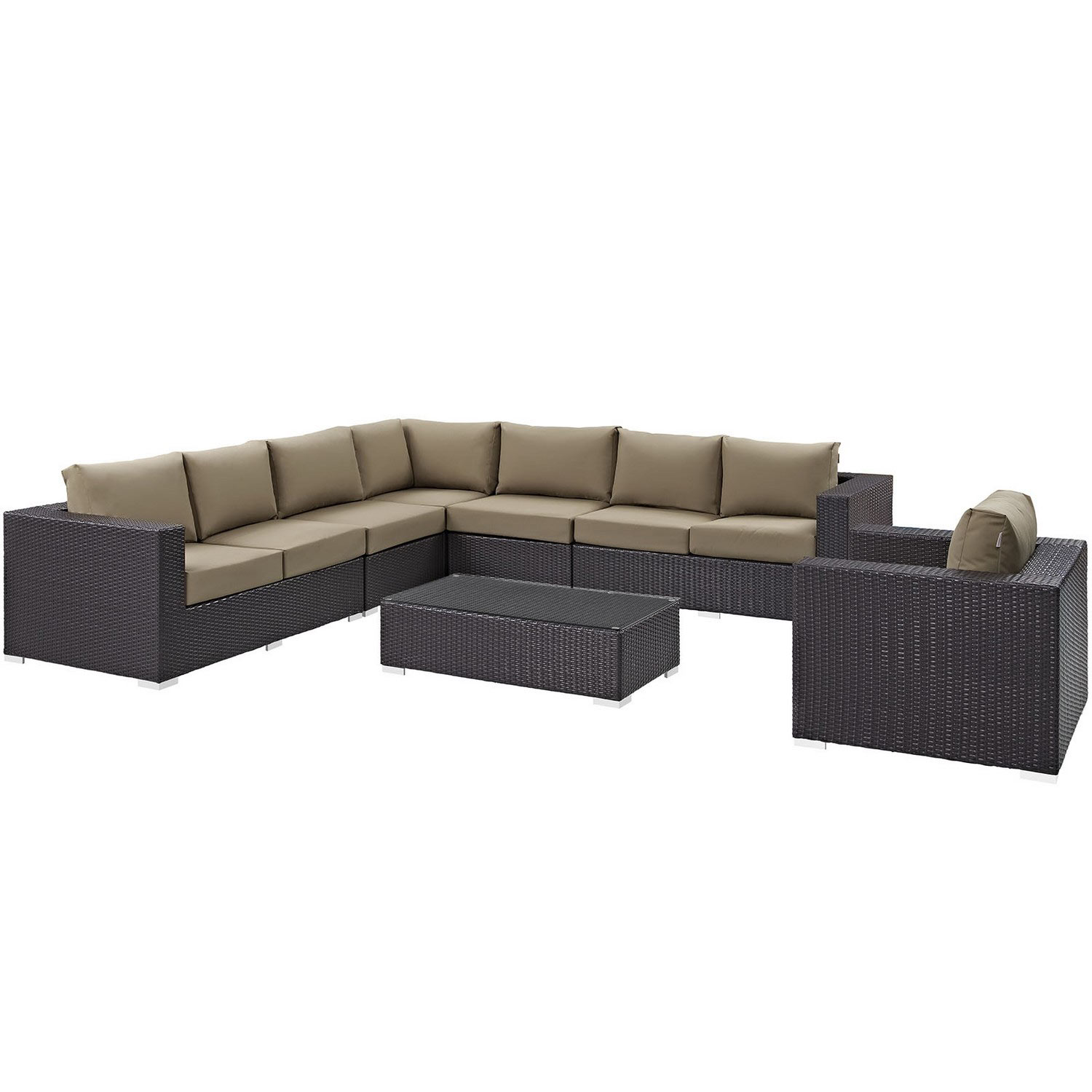 Modway Convene 7 Piece Outdoor Patio Sectional Set - Espresso Mocha