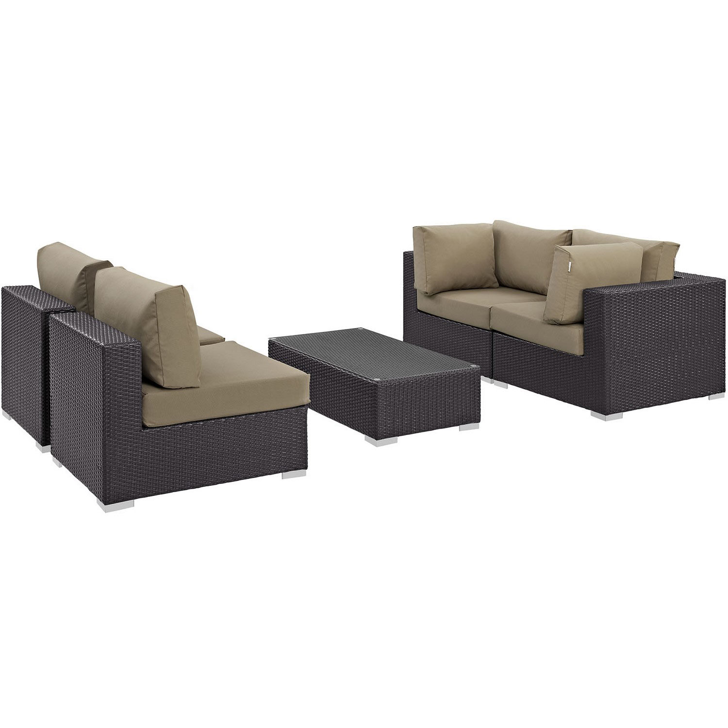 Modway Convene 5 Piece Outdoor Patio Sectional Set - Espresso Mocha