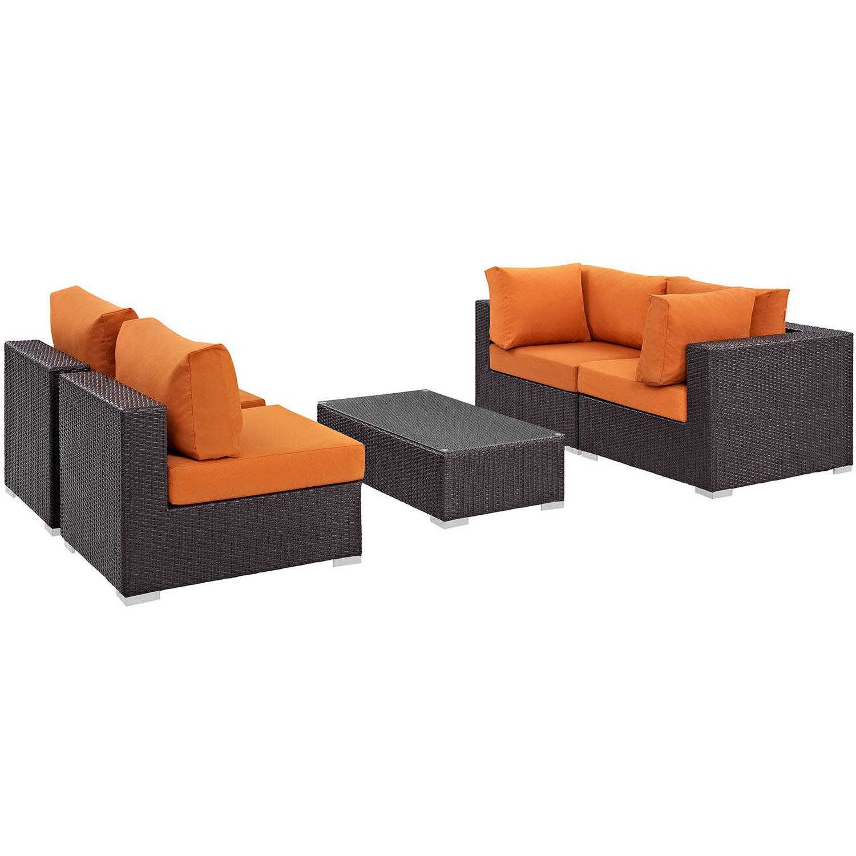 Modway Convene 5 Piece Outdoor Patio Sectional Set - Espresso Orange