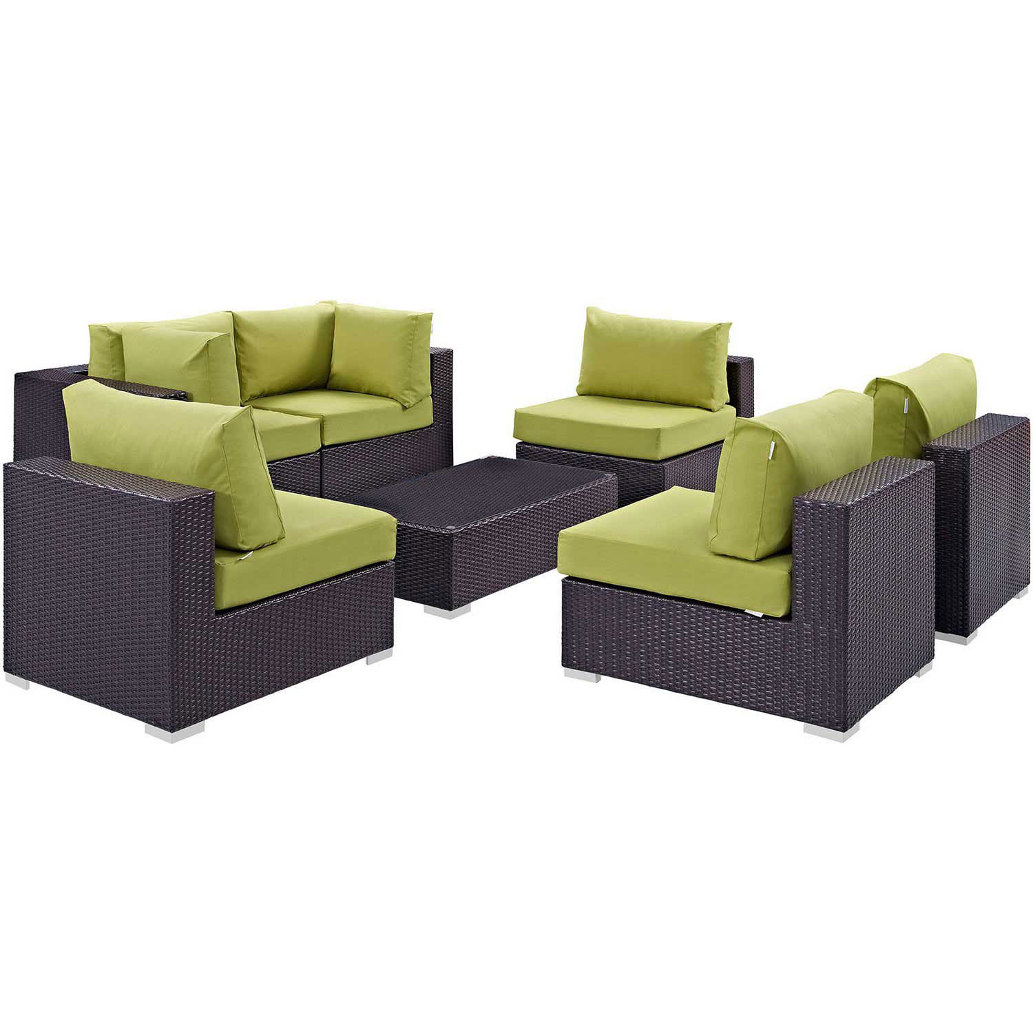 Modway Convene 7 Piece Outdoor Patio Sectional Set - Espresso Peridot