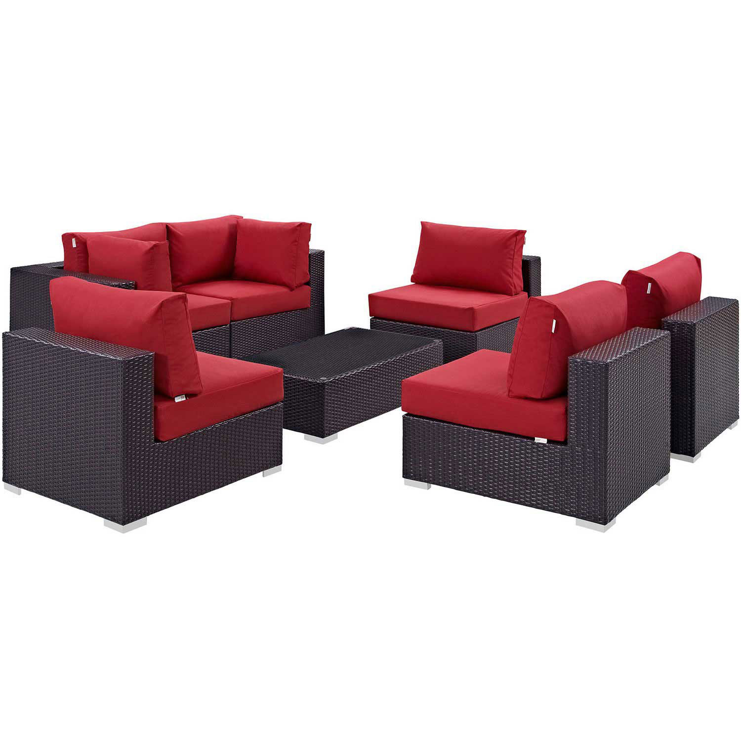 Modway Convene 7 Piece Outdoor Patio Sectional Set - Espresso Red
