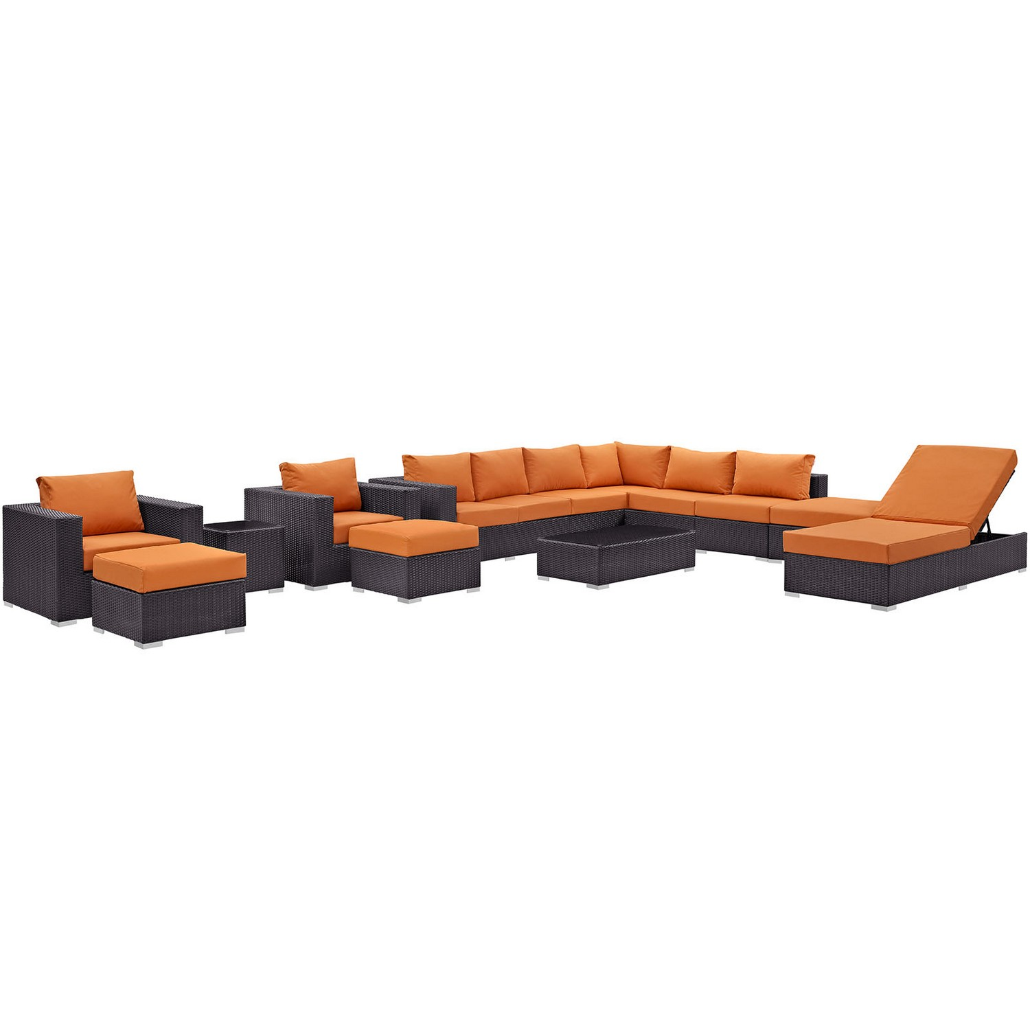 Modway Convene 12 Piece Outdoor Patio Sectional Set - Espresso Orange